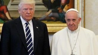 Pope Francis poses with U.S. President Donald Trump during a private audience at the Vatican May 24. (CNS photo/Paul Haring) See POPE-TRUMP-MEET May 24, 2017.